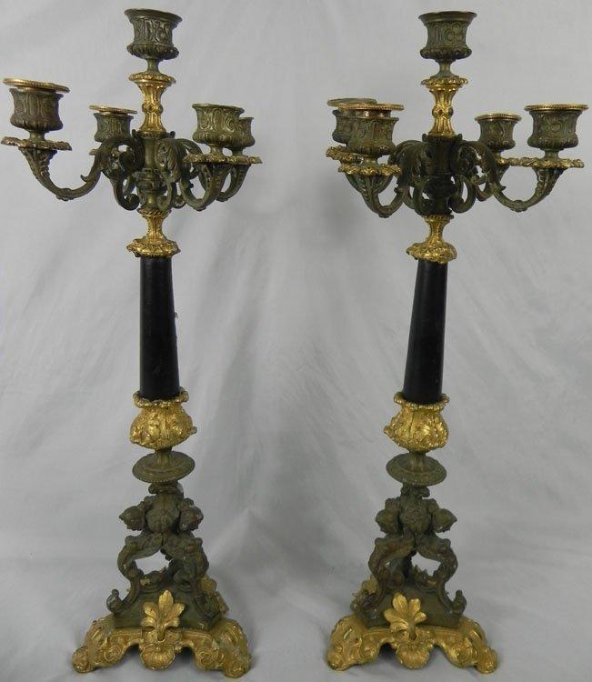 5: Pair  French 19th Century Bronze Candelabras