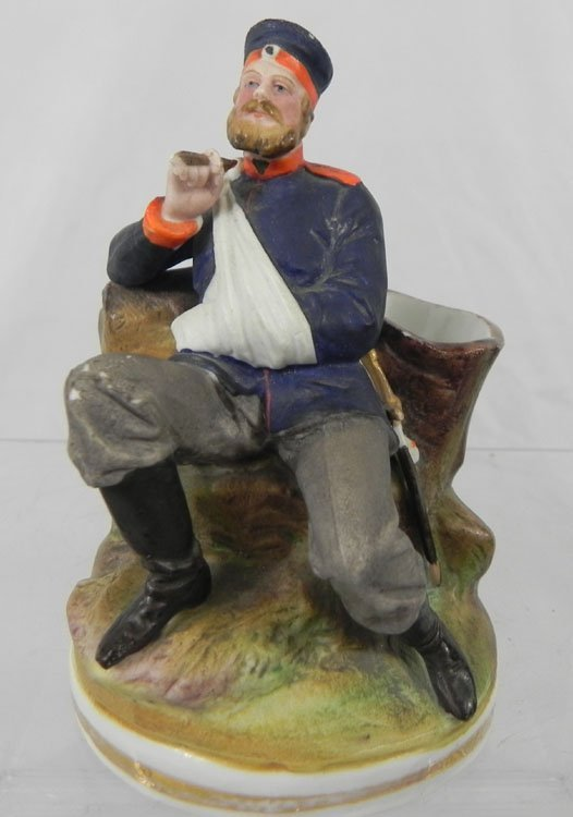 14: Antique Russian Porcelain Figurine of Wounded Soldi