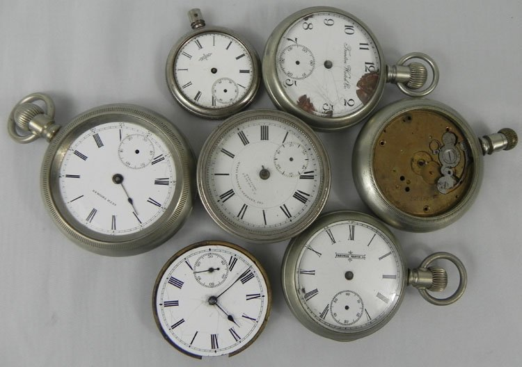 16: Lot of Seven Watch Cases with Mechanisms Parts