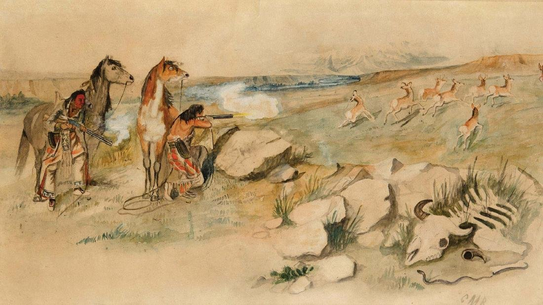 Deer Hunting  [ Indians Hunting Antelope ]
