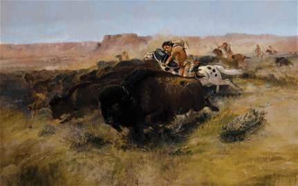 Charles M. Russell - Buffalo Hunt #7