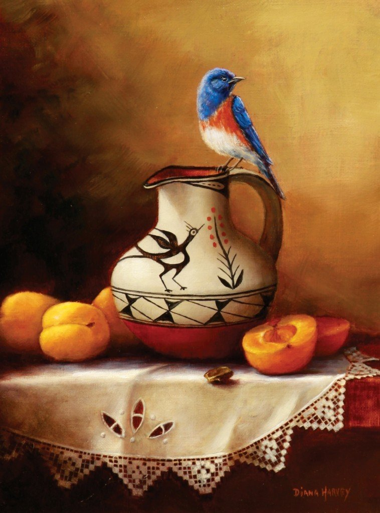 108: Western Bluebird and Apricots