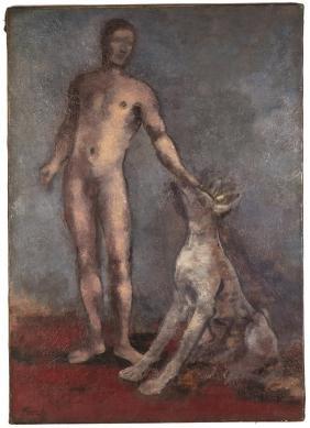 Joseph Floch (American/Austrian, 1894-1977) Man and Dog