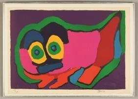 """Karel Appel  (Dutch, 1921-2006) """"Figure  Composition"""""""
