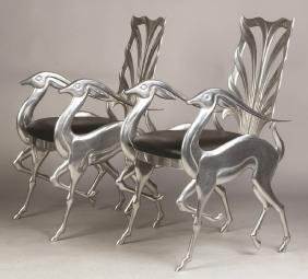Ray Lewis, Pair of Cast Aluminum Fauna Impala Chairs