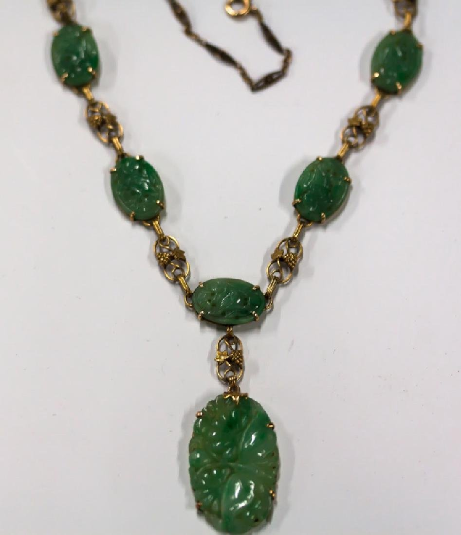 Carved Jade and Gold Necklace