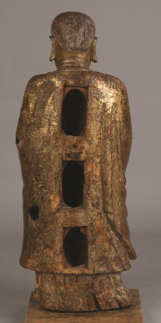 Early Chinese Lacquered and Carved Gilt Wood Standing - 3