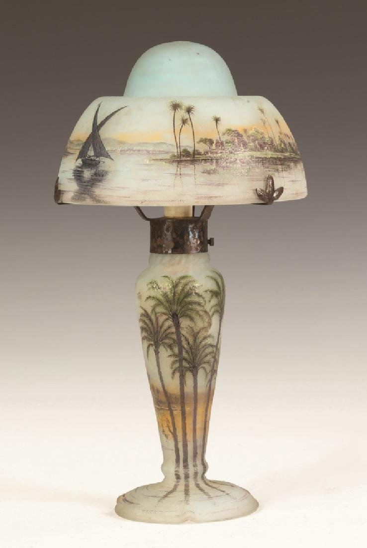 Fine Daum Nancy Lamp with Middle Eastern Seascape - 4