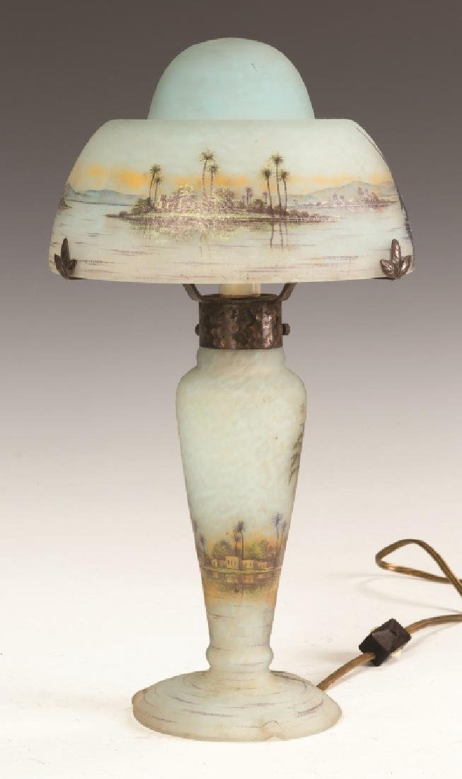 Fine Daum Nancy Lamp with Middle Eastern Seascape - 5
