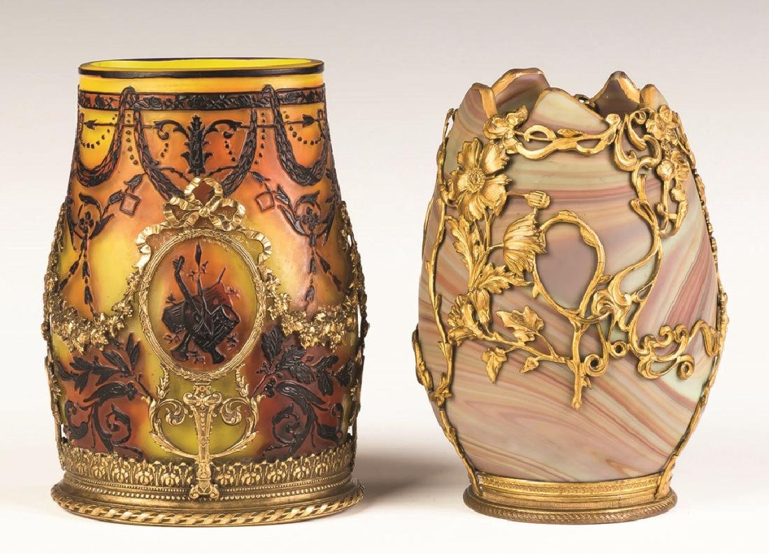 French Cameo Vase and Art Glass Vase