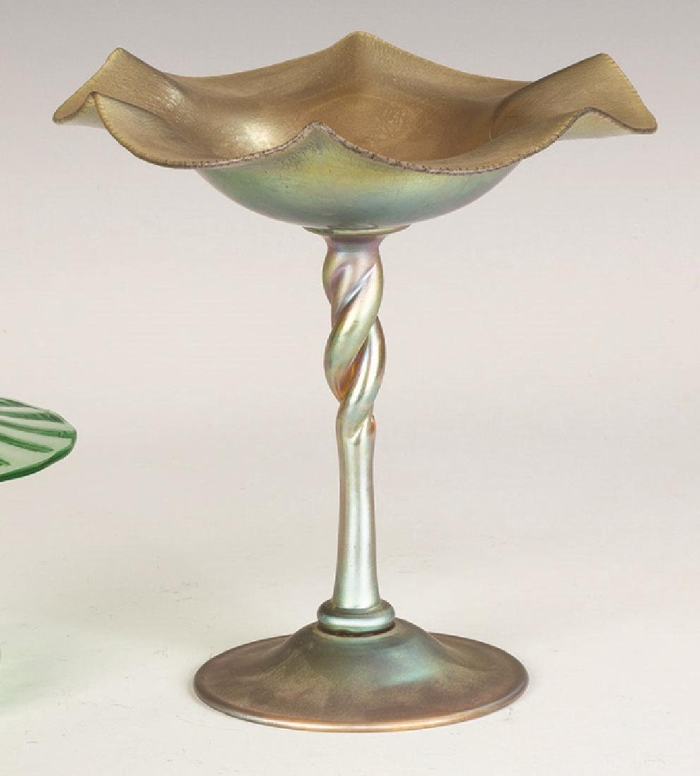 Steuben Aurene Compote with Twisted Stem