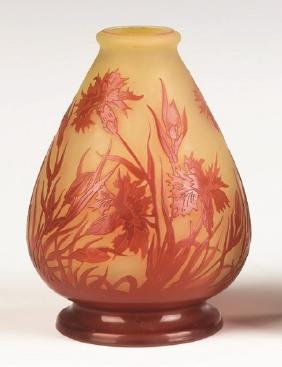 Galle Cameo Cabinet Vase with Cornflowers