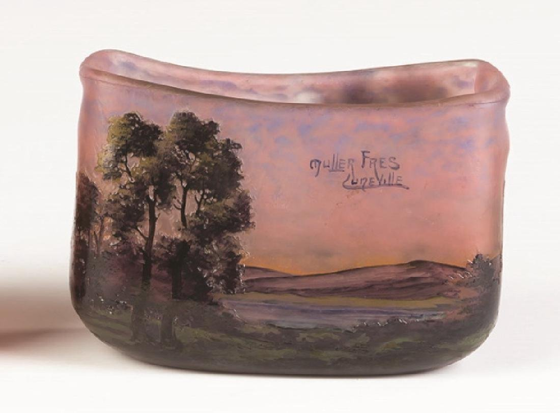 Muller Freres Cameo Vase of a Lake Scene