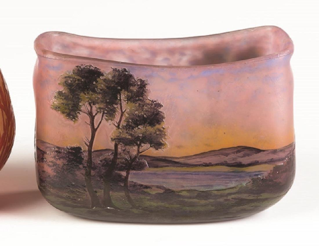 Muller Freres Cameo Vase of a Lake Scene - 2