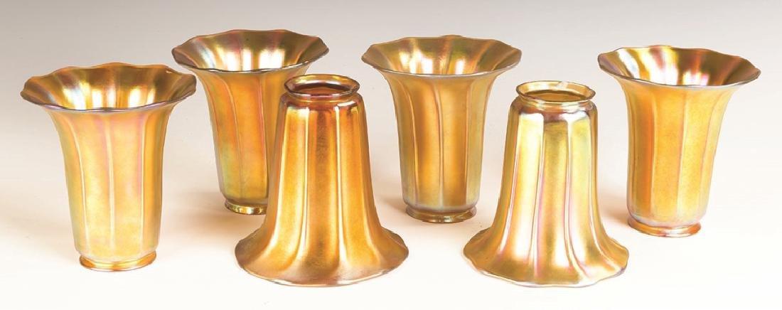 Six Steuben Gold Aurene Shades