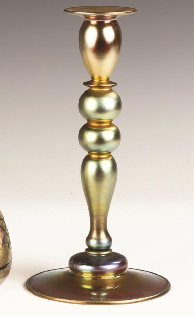 Steuben Aurene Candlestick