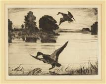 Frank W. Benson (American, 1862-1951) Ducks & Marsh