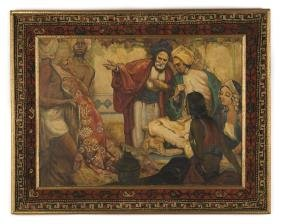 """Middle Eastern Painting """"Rug Dealer"""" with a Persian"""