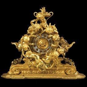 Monumental French Napoleon III Gilt Bronze Mantle Clock