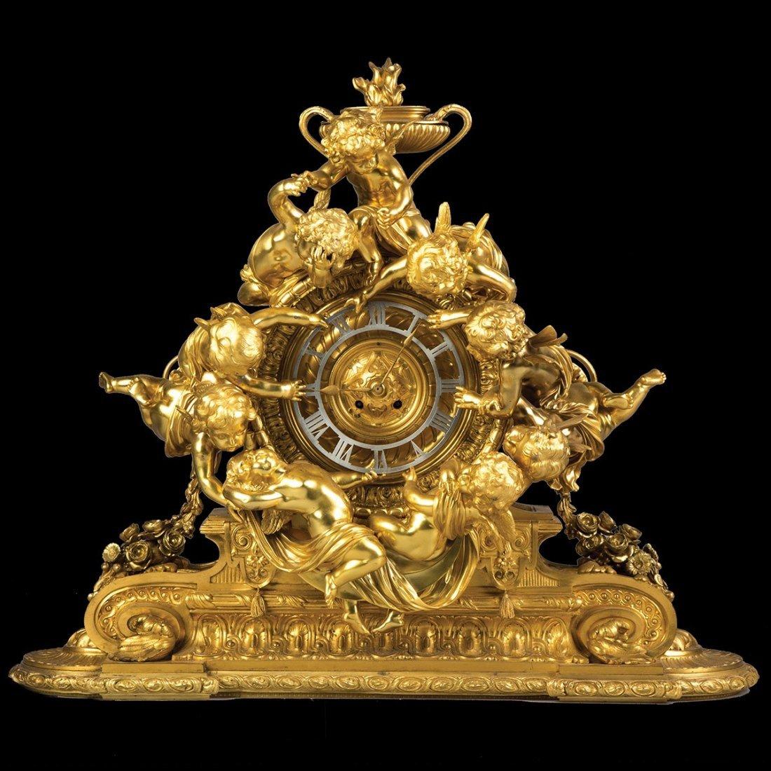 Monumental French Napoleon III Gilt Bronze Mantel Clock