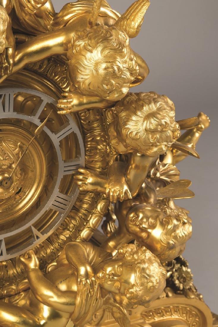 Monumental French Napoleon III Gilt Bronze Mantel Clock - 2