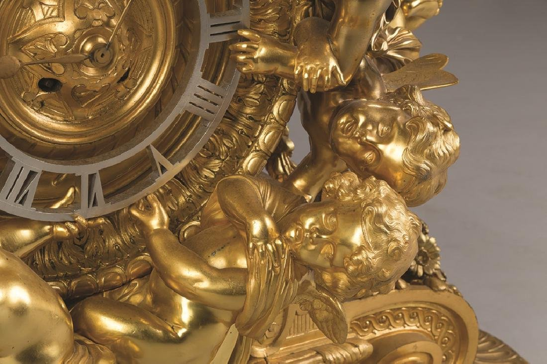 Monumental French Napoleon III Gilt Bronze Mantel Clock - 3