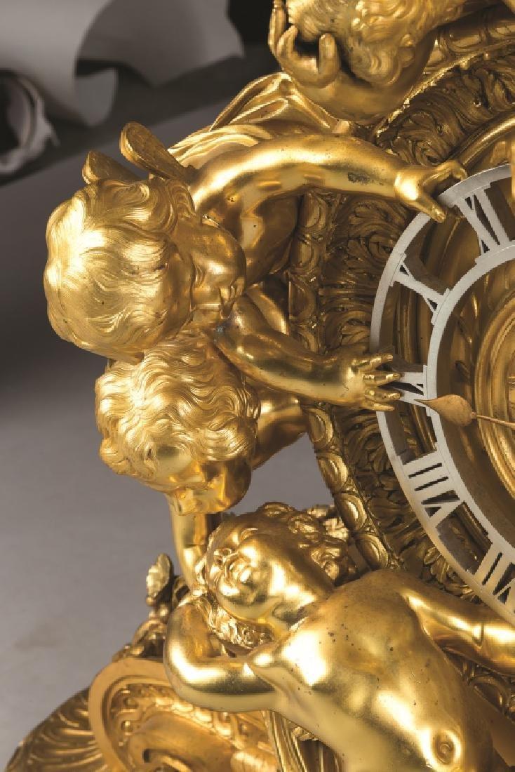 Monumental French Napoleon III Gilt Bronze Mantel Clock - 4