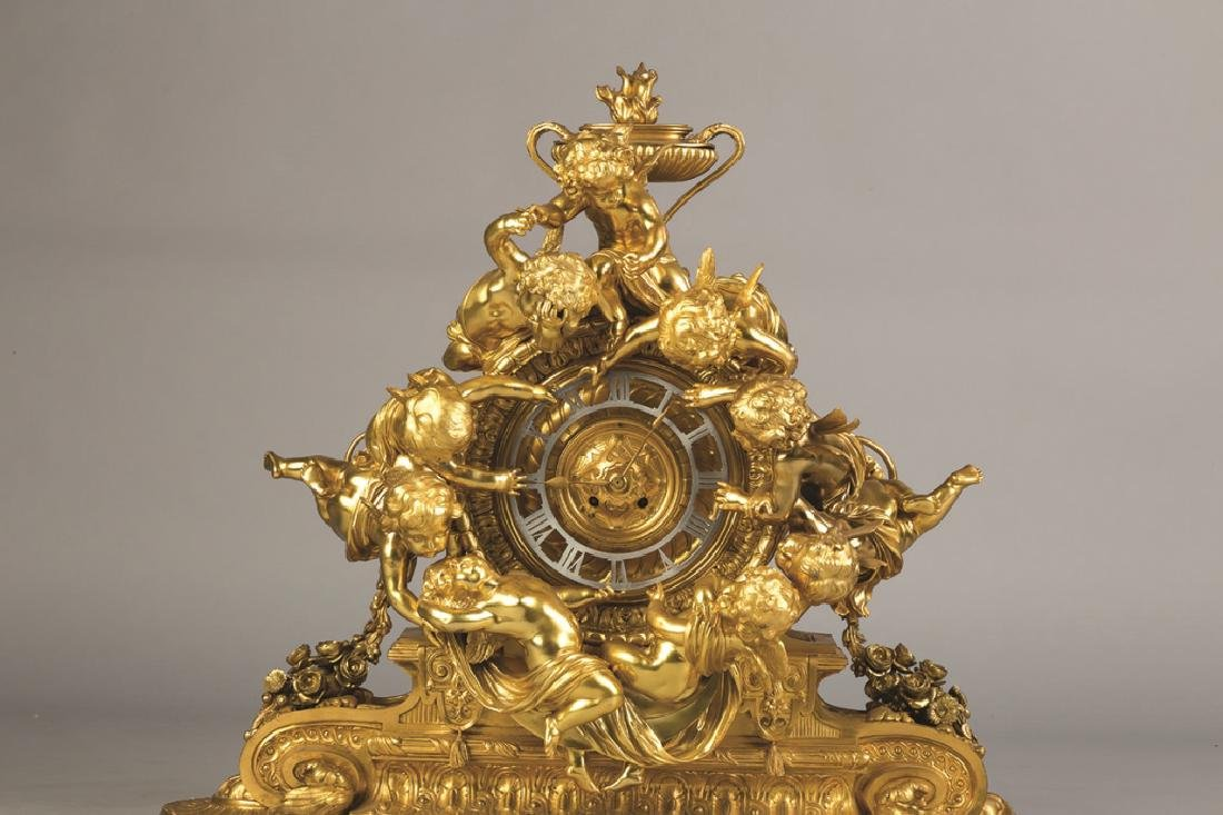 Monumental French Napoleon III Gilt Bronze Mantel Clock - 7