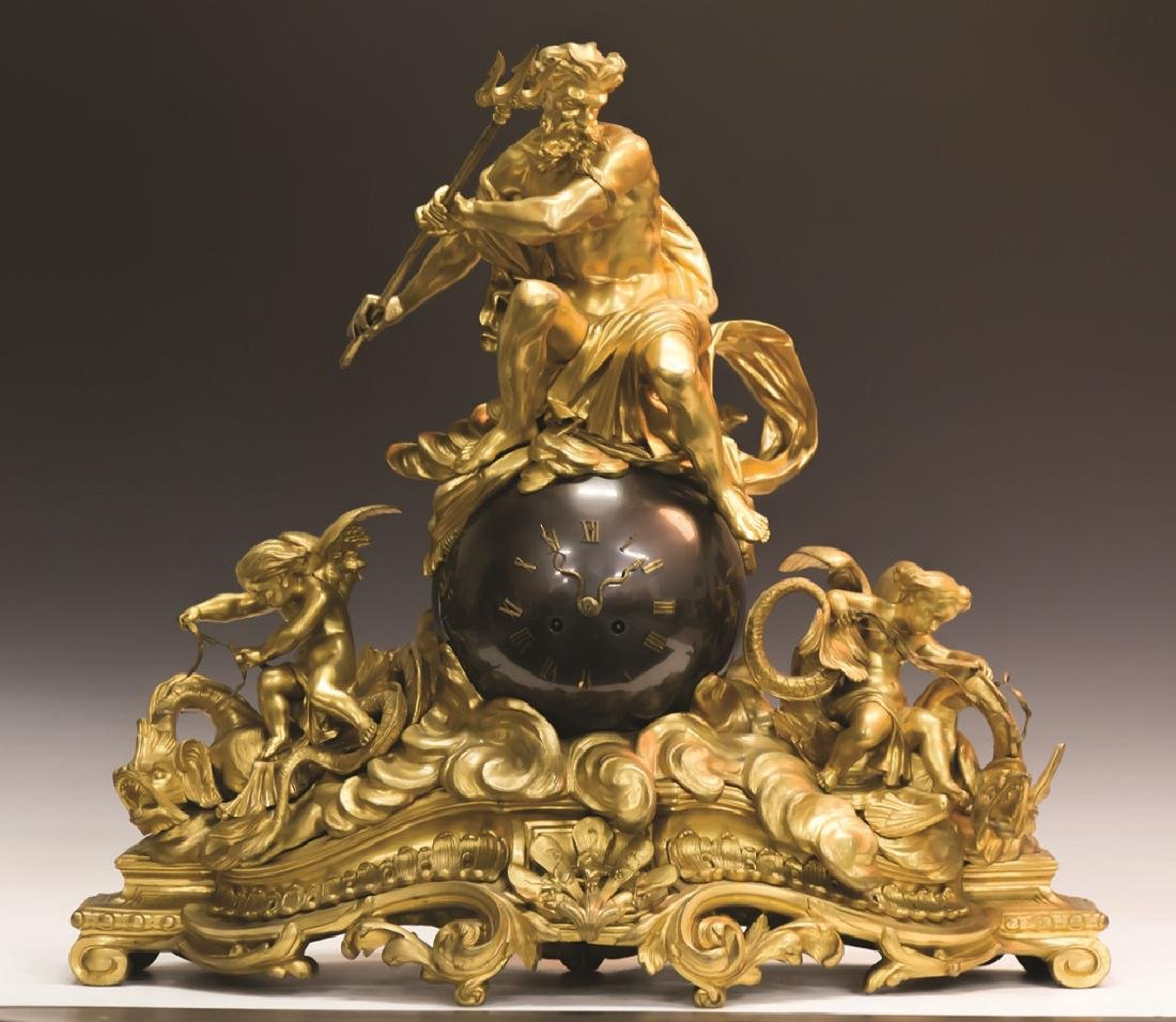 French Gilt and Patinaed Bronze Clock