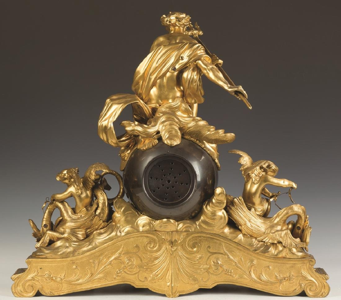 French Gilt and Patinaed Bronze Clock - 2