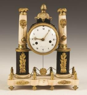 French Empire Marble and Gilt Bronze Mantle Clock