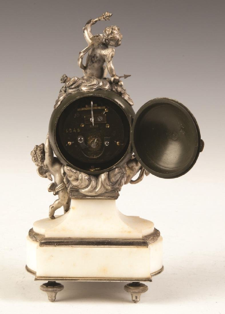 French Miniature Patinaed Metal and Marble Cherub Clock - 2