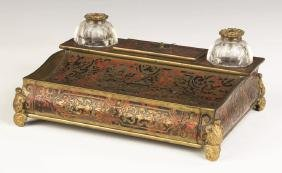 Brass and Bronze Boulle Desk  Set with Drawer