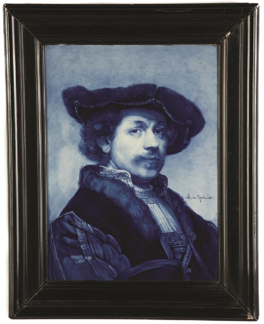 Delft Painting on Tile, Portrait of Rembrandt
