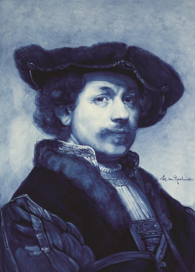 Delft Painting on Tile, Portrait of Rembrandt - 2
