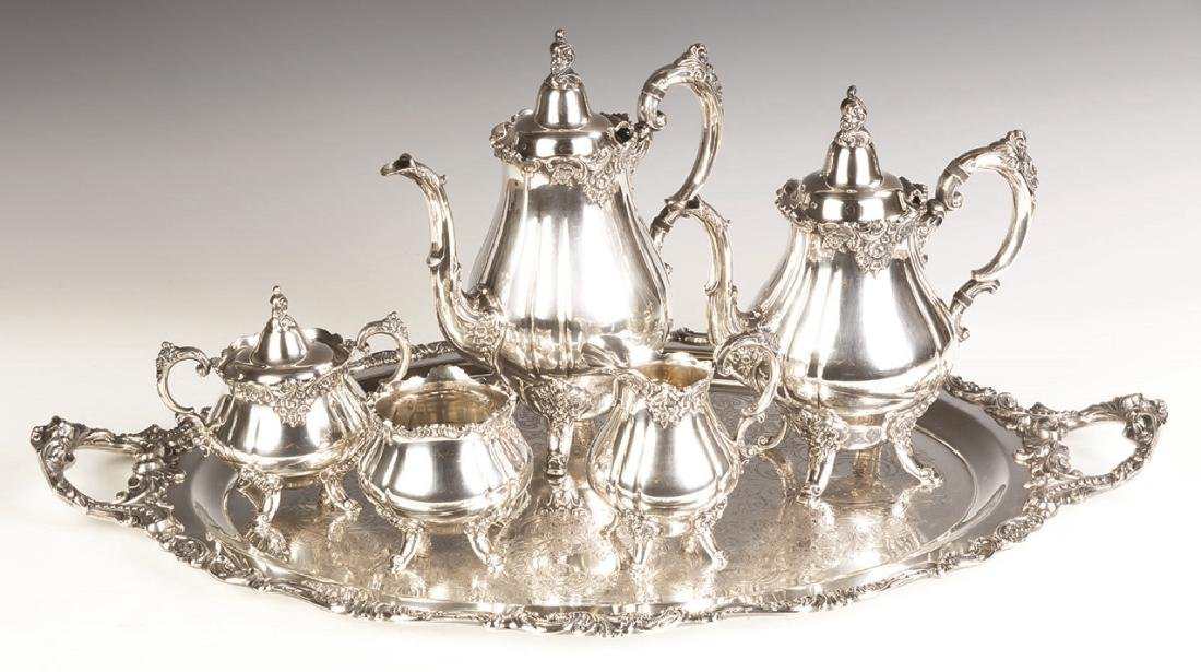 Wallace Grand Baroque Silver Plate Tea Service
