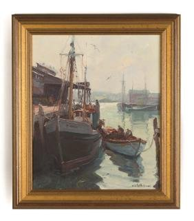 """Emile A. Gruppe (American, 1896-1978) """"Boats at  the"""