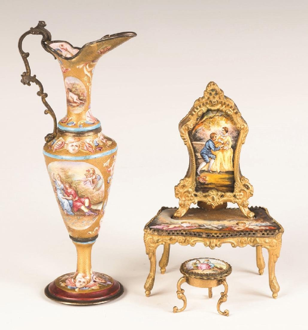 Viennese Enameled Ewer and Dressing Table with Music