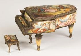 Viennese Musical Enameled Grand Piano and Stool