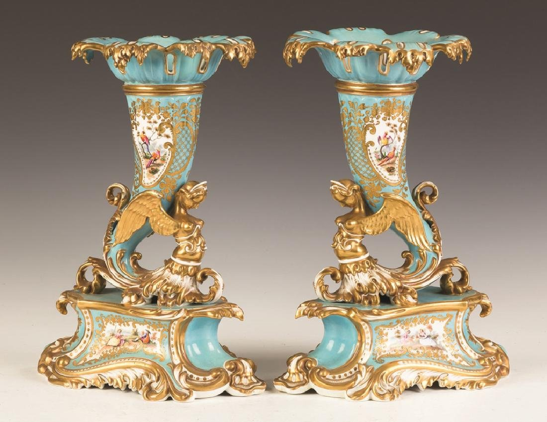 Chamberlain and Co. Worcester Cornucopia Vases