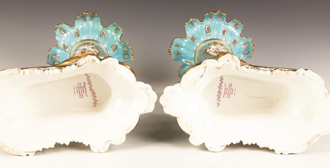 Chamberlain and Co. Worcester Cornucopia Vases - 2