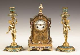 French Champlevé and Gilt Bronze Mantel Clock with