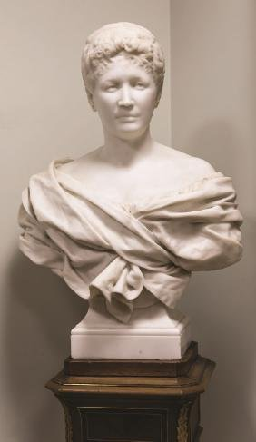 Carved Marble Bust of a Robed Lady on a Bronze Mounted