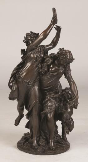 "Clodion Bronze Sculpture ""Bacchanalia"""