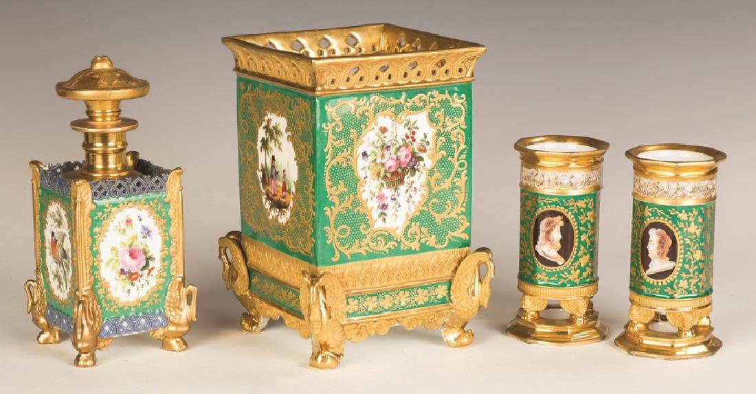 French Hand Painted Porcelain with Gilt Decorations