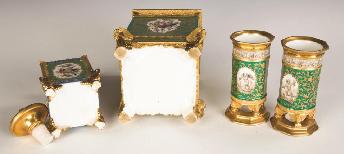 French Hand Painted Porcelain with Gilt Decorations - 2