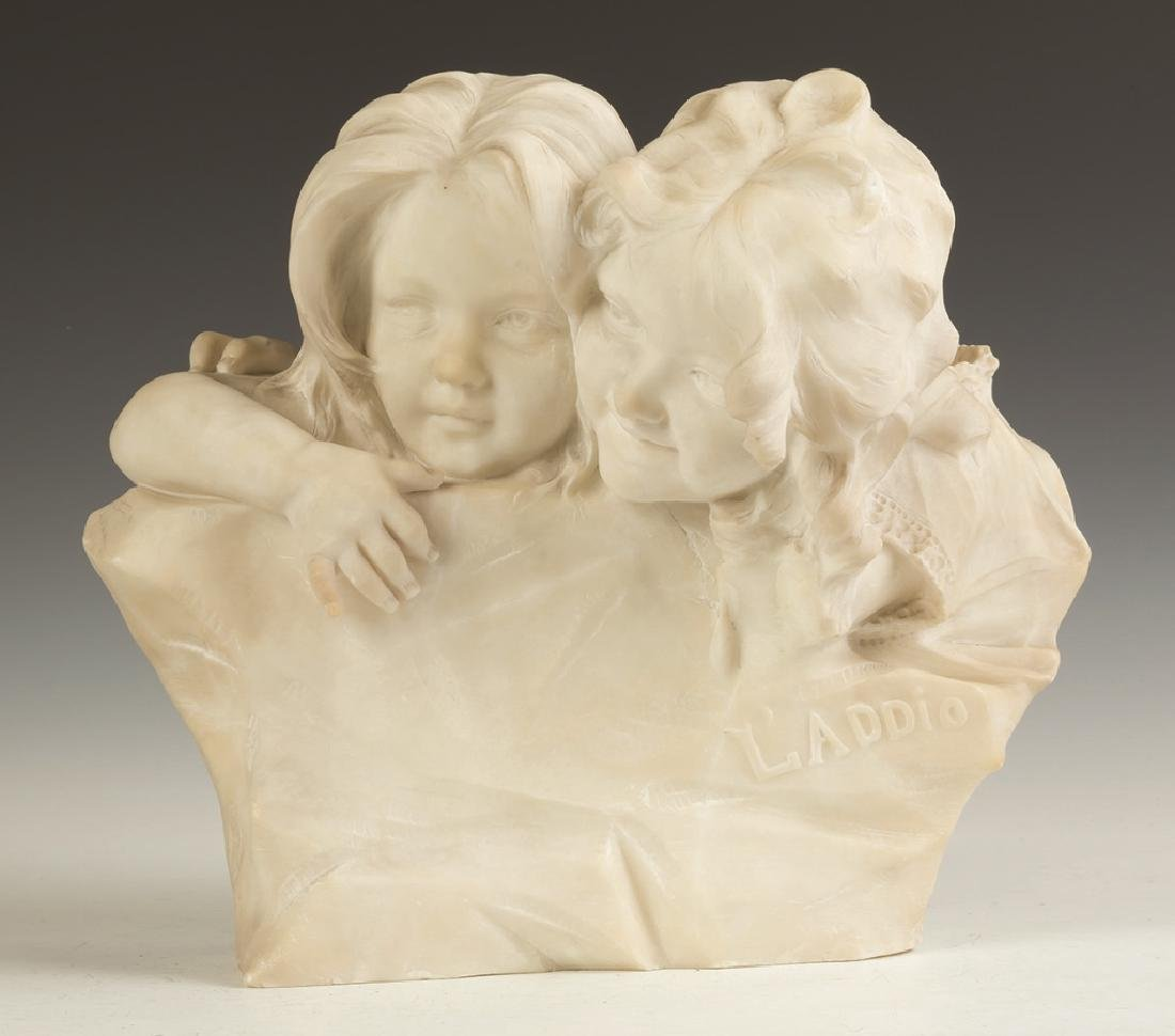"""Marble Sculpture of Children """"L'addio""""/""""Goodbye"""""""