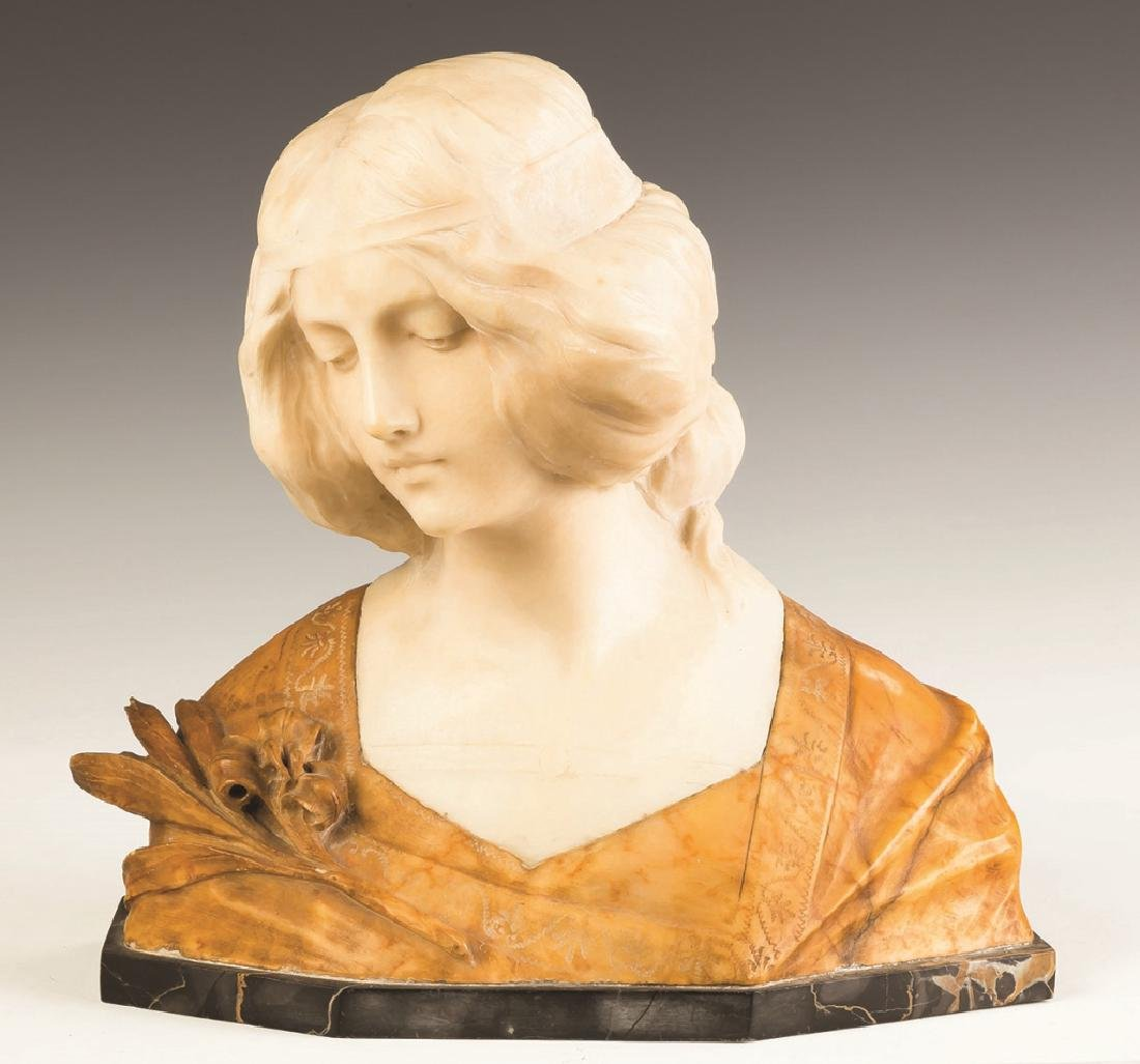 Alabaster Bust of a Young Lady