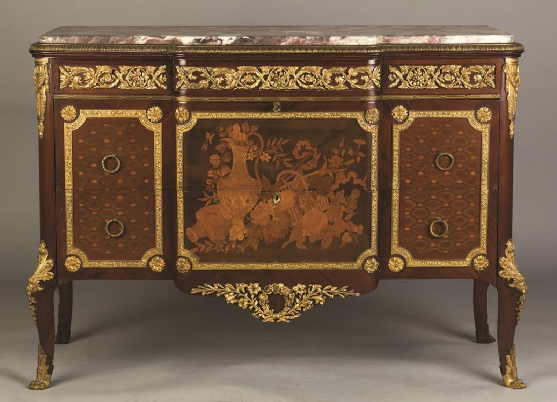 Louis XV/XVI French Style Marble Top 3-Drawer  Chest