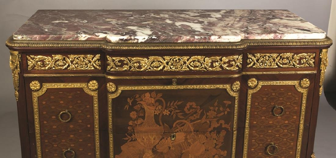 Louis XV/XVI French Style Marble Top 3-Drawer  Chest - 4